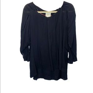 Maeve   Anthro   Black High-Low Top   Size Large